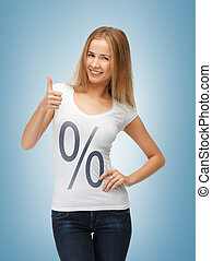 woman in shirt with percent sign - picture of smiling woman...