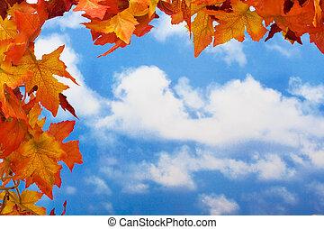 Fall leaf border - Fall leaves on sky background, fall leaf...