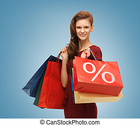 girl with shopping bags - picture of beautiful girl with...