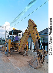 Bucket hydraulic Excavator - Excavator park wait for...