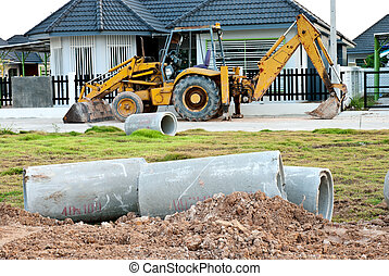 Waste water drain construction - Waste water drain pipe...
