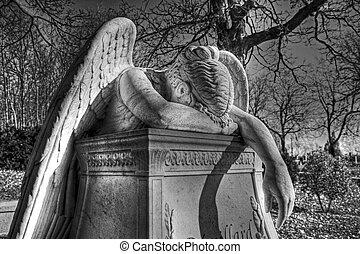 Crying Angel 16 - Black and white view of crying angel...
