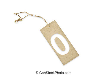 Brown paper tag with number zero cut
