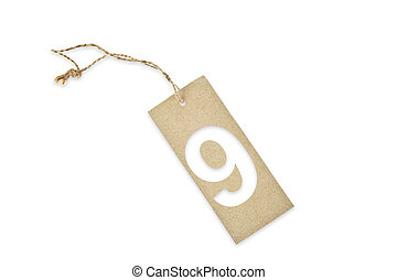 Brown paper tag with number nine cut