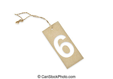 Brown paper tag with number six cut
