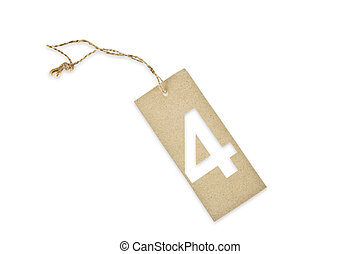 Brown paper tag with number four cut