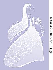 Noiva, casório, Vestido, vetorial