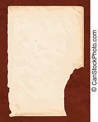 Old book paper with brown cardboard background in vector