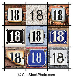 Numbers Eighteen - Collage of House Numbers Eighteen