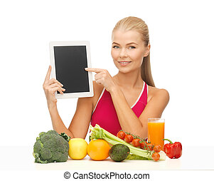 woman with fruits, vegetables and tablet pc - sporty woman...