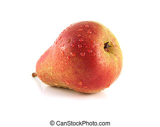 Ripe red pear on white background. Isolated fruit. - Ripe...