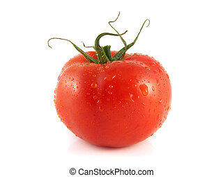 Fresh red tomato. Isolated on a white background. - Fresh...