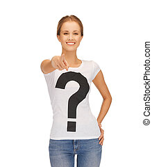 woman in white t-shirt pointing at you - woman in t-shirt...