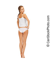 beautiful woman in white cotton underwear - picture of...