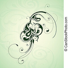 Floral design element - Floral design ornament with green...