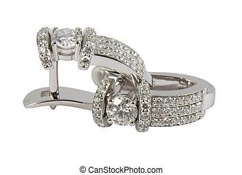Diamond earrings - Diamond white gold earrings isolated on...