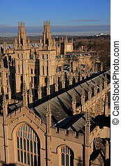 Oxford Colleges - Aerial view of Oxford colleges, a panorama...