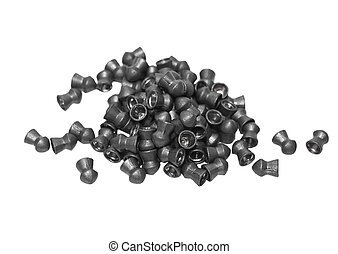Pile lead pellets for an air rifle isolated on white