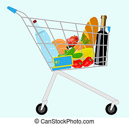 grocery cart - vector cart with a set of products