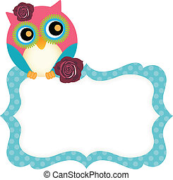 Cute owl tag - Scalable vectorial image representing a cute...