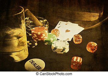 vintage poker conceptual image with card and gamble chip