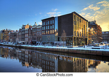 Anne Frank house and holocaust museum in Amsterdam, the...