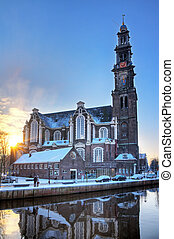 Winter morning Westerkerk - Westerkerk church in Amsterdam...