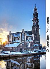 Winter morning Westerkerk - Westerkerk church in Amsterdam...
