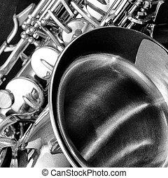 noir, blanc, saxophone, détail