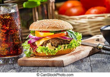 feito, hamburger, coca-cola, cima, tradicional, americano,...