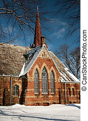 Brick Church - Brick church in a winter scene in PEI