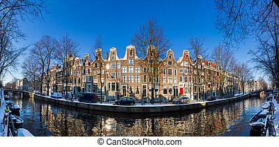 Amsterdam townhouse panorama - Beautiful early morning...