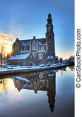 Westerkerk winter reflection - Westerkerk church in...