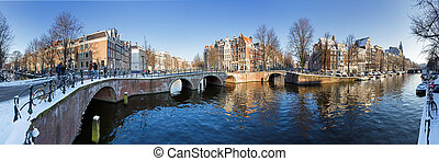 Amsterdam canal panorama - Beautiful winter panorama of the...