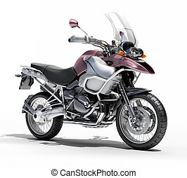 Dual-sports motorcycle close-up