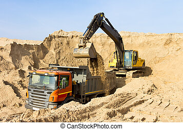 Excavator Loading Dumper Truck Construction Site