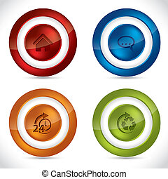 Glossy buttons with various icons