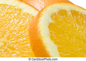 Orange Close-Up (1) - Close up (macro) of two slices of...