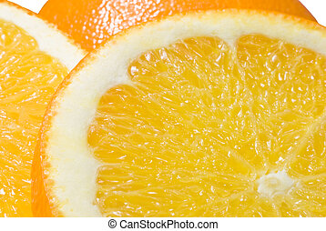 Orange Close-up (2) - Close-up (macro) of two slices of...