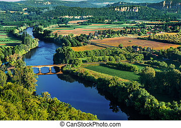 medevial bridge over the dordogne river perigord france