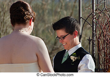 Cute Lesbian Civil Union - Cute boyish female groom with...