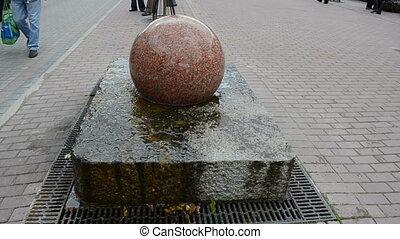 round stone fountain