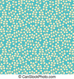 Retro floral branch seamless - Blue pattern of yellow small...