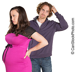 Confused Father with Woman - Man next to pregnant woman...
