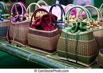 Colorful bamboo wicker bag