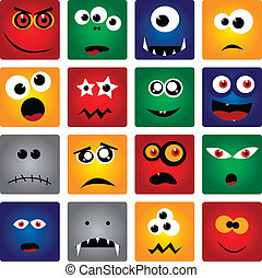square monsters - vector set of square monsters