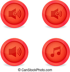 Media player glossy buttons collection - Set of glossy media...