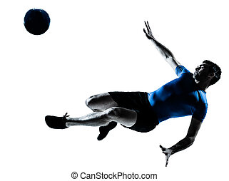 man soccer football player flying kicking - one caucasian...
