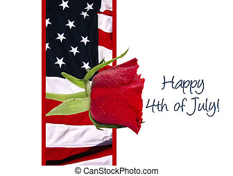 Rose and Flag 4th of July card