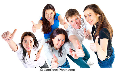Top view of young friends showing thumbs up